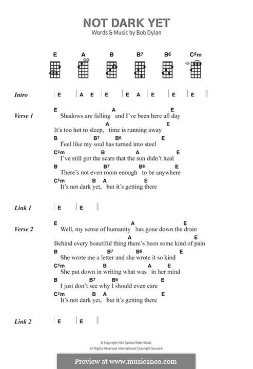 Not Dark Yet: Text und Akkorde by Bob Dylan