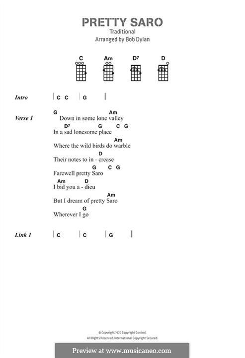 Pretty Saro: Text und Akkorde by folklore