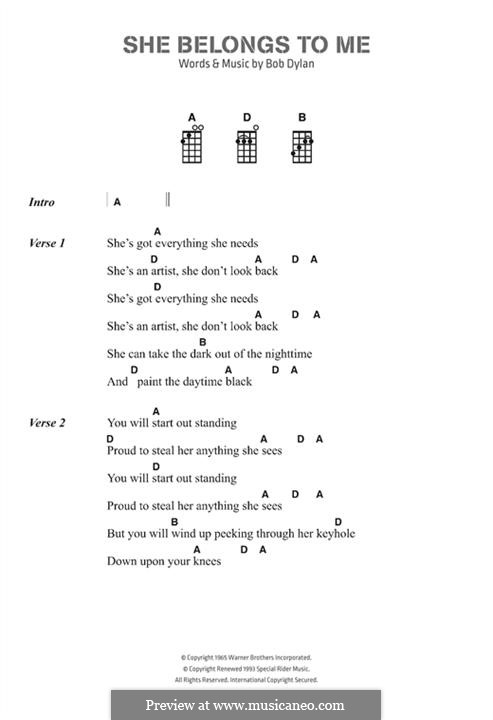 She Belongs to Me: Text und Akkorde by Bob Dylan