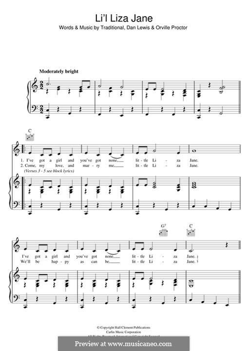 Li'l Liza Jane: Für Stimme und Klavier (oder Gitarre) by folklore, Dan Lewis, Orville Proctor