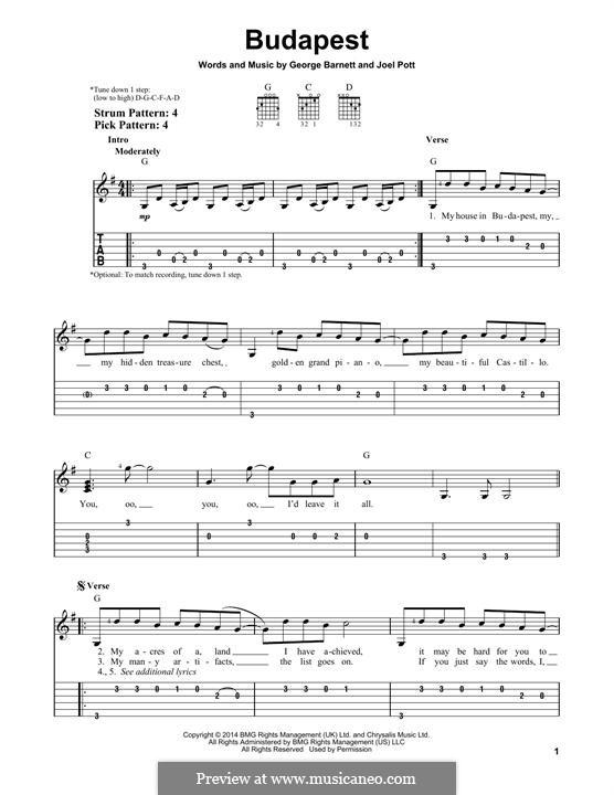 Budapest: Für Gitarre mit Tabulatur by Joel Pott, George Ezra Barnett