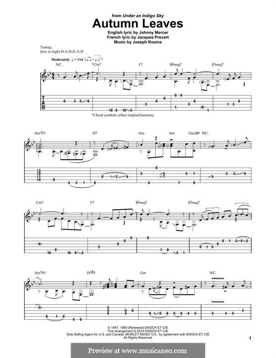 Autumn Leaves: Für Gitarre mit Tabulatur by Joseph Kosma
