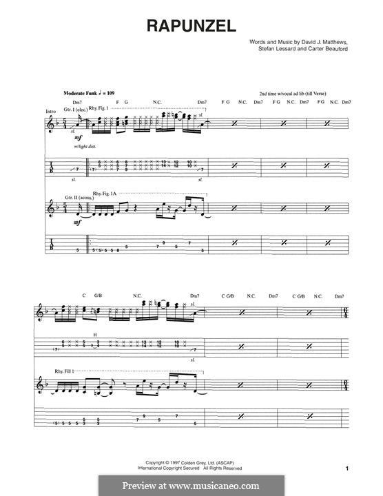Rapunzel (Dave Matthews Band): Für Gitarre mit Tabulatur by Carter Beauford, David J. Matthews, Stefan Lessard