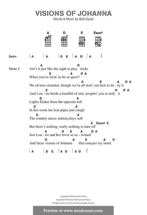 Visions of Johanna: Für Ukulele by Bob Dylan