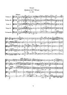 Streichquintett Nr.2 in c-Moll, K.406/516b: Partitur by Wolfgang Amadeus Mozart