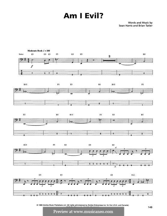 Am I Evil? (Metallica): Für Bassgitarre mit Tabulatur by Brian Tatler, Sean Lindon Harris