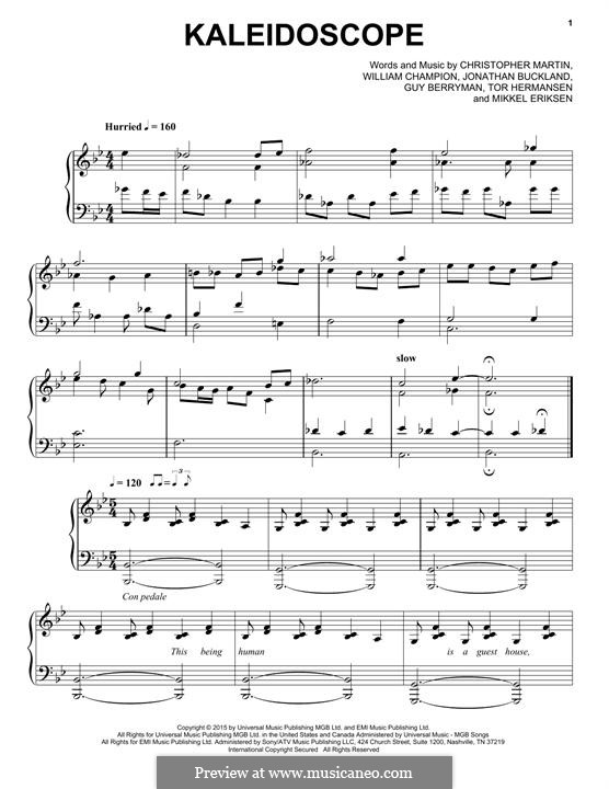 Kaleidoscope (Coldplay): Für Klavier by Chris Martin, Guy Berryman, Jonny Buckland, Mikkel Storleer Eriksen, Will Champion