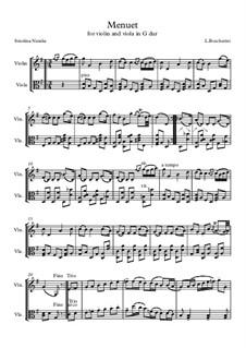 Streichquintett Nr.5 in E-Dur, G.275 Op.107: Minuet, for violin and viola by Luigi Boccherini