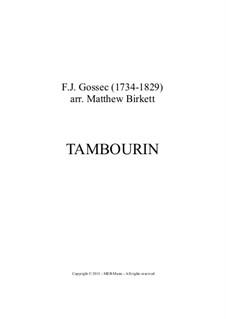 Tambourin in F-Dur: Vollpartitur, Stimmen by François Joseph Gossec