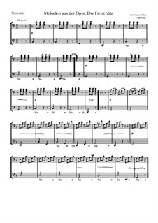 Fragmente: Melodie, für Klavier, vierhändig by Carl Maria von Weber
