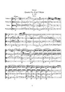 Streichquartett Nr.8 in F-Dur, K.168: Vollpartitur by Wolfgang Amadeus Mozart
