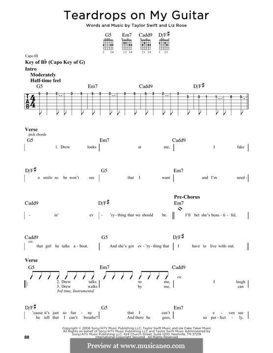 Teardrops on My Guitar: Für Gitarre mit Tabulatur by Liz Rose, Taylor Swift