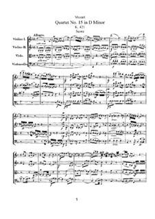 Streichquartett Nr.15 in d-Moll, K.421/K.417b: Partitur by Wolfgang Amadeus Mozart