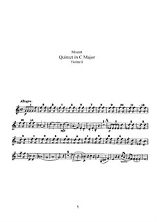 Streichquintett Nr.3 in C-Dur, K.515: Violinstimme II by Wolfgang Amadeus Mozart