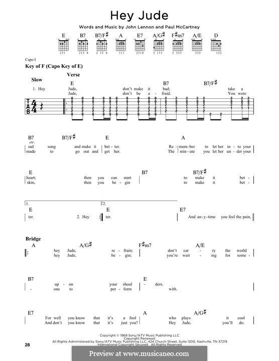Hey Jude (The Beatles), for One Instrument: Für Gitarre mit Tabulatur by John Lennon, Paul McCartney