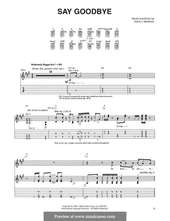 Say Goodbye (Dave Matthews Band): Für Gitarre mit Tabulatur by David J. Matthews