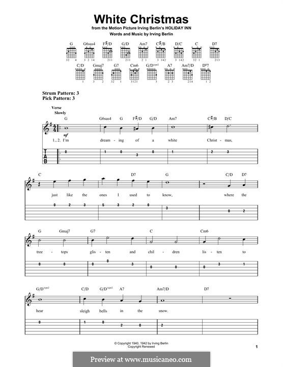 White Christmas. Instrumental version: For guitar with tab (G Major) by Irving Berlin