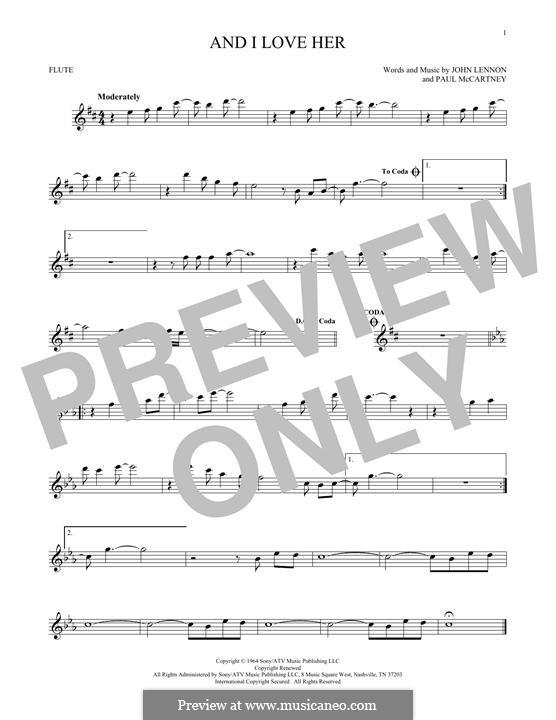 And I Love Her (The Beatles): Für Flöte by John Lennon, Paul McCartney
