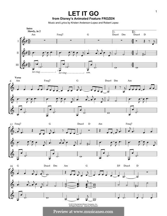 Let It Go (from Frozen): For any instrument by Robert Lopez, Kristen Anderson-Lopez