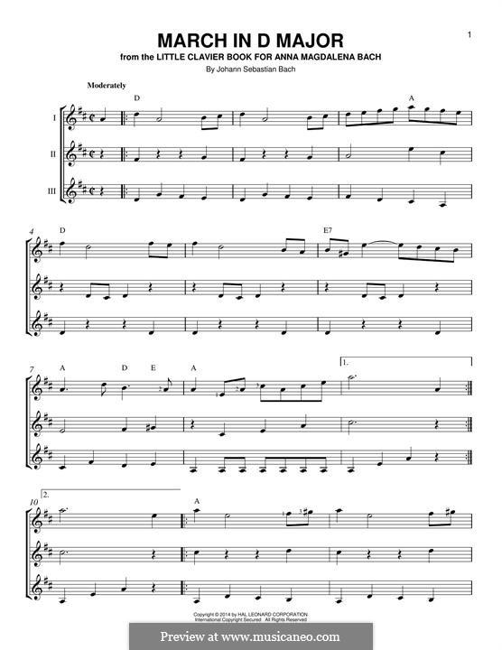 Nr.16 Marsch in D Major, BWV Anh.122: For any instrument by Johann Sebastian Bach