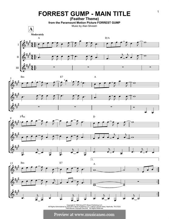 Forrest Gump Suite (Theme): For any instrument by Alan Silvestri
