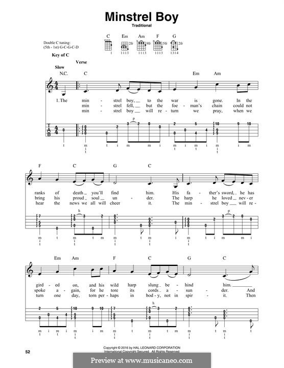 The Minstrel Boy (The Moreen): For banjo by folklore