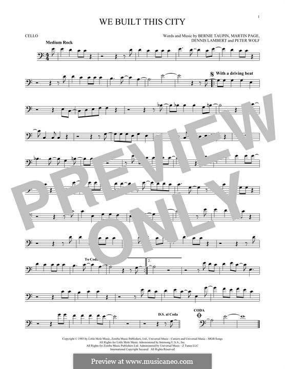 We Built This City (Starship): Für Cello by Dennis Lambert, Martin George Page, Peter Wolf