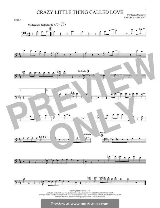 Crazy Little Thing Called Love (Queen): Für Cello by Freddie Mercury