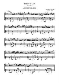 Zwölf Sonaten für Flöte und Basso Continuo, Op.2: Sonate Nr.1 in F-Dur, für Altblockflöte und Gitarre by Benedetto Marcello