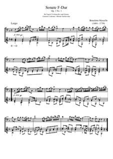 Sechs Sonaten für Cello (oder Bratsche) und Basso Continuo, Op.1: Sonate Nr.1 in F-Dur, für Fagott und Gitarre by Benedetto Marcello