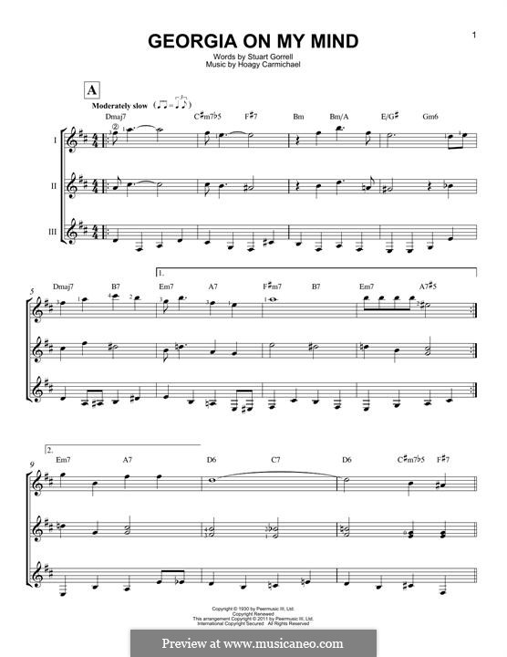 Georgia on My Mind: For any instrument by Hoagy Carmichael