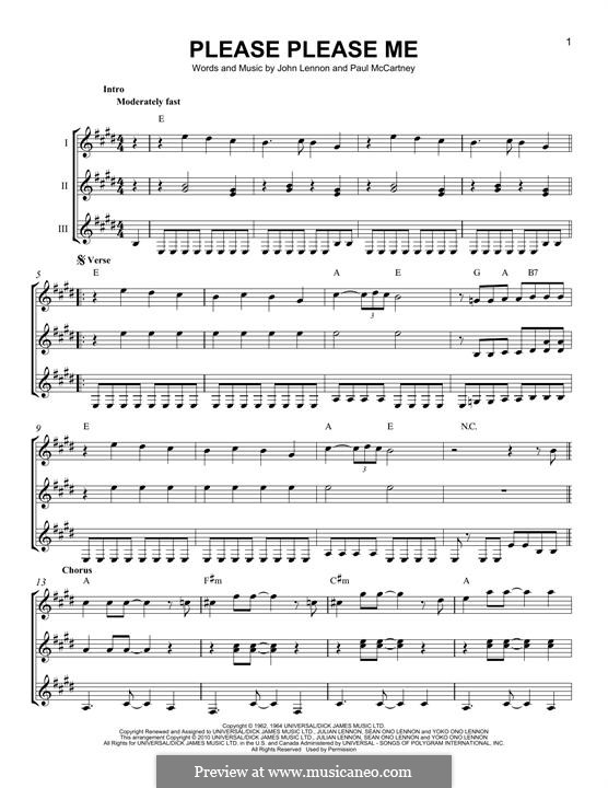 Please Please Me (The Beatles): For any instrument by John Lennon, Paul McCartney