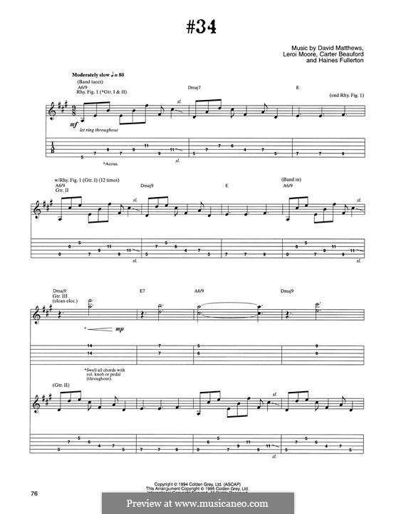 #34 (Dave Matthews Band): Für Gitarre mit Tabulatur by David J. Matthews