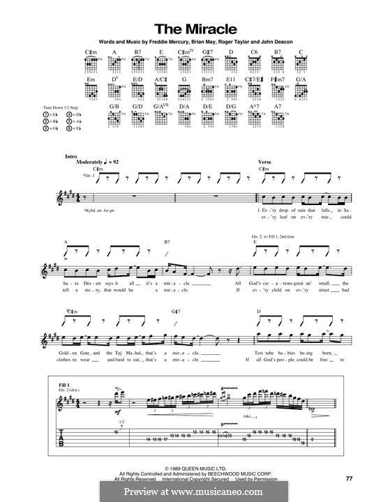 The Miracle (Queen): Für Gitarre mit Tabulatur by Brian May, Freddie Mercury, John Deacon, Roger Taylor