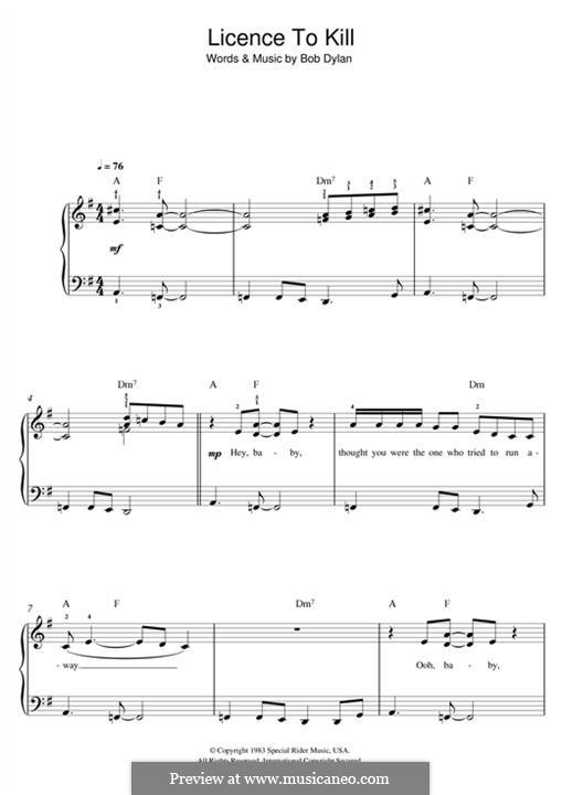 Licence to Kill: Für Klavier by Bob Dylan
