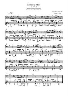Sechs Sonaten für Cello (oder Bratsche) und Basso Continuo, Op.1: Sonate Nr.2 in e-Moll, für Fagott und Gitarre by Benedetto Marcello