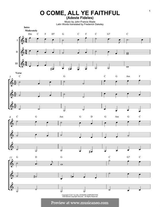 O Come, All Ye Faithful (Printable Scores): For any instrument by John Francis Wade