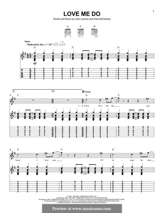 Love Me Do (The Beatles): Für Gitarre mit Tabulatur by John Lennon, Paul McCartney