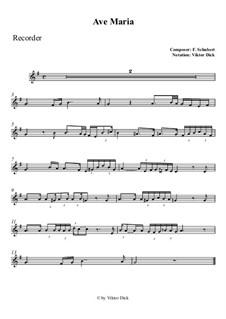 Ave Maria, D.839 Op.52 No.6: Für Blockflöte by Franz Schubert