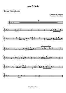 Ave Maria, D.839 Op.52 No.6: Für Tenorsaxophon by Franz Schubert