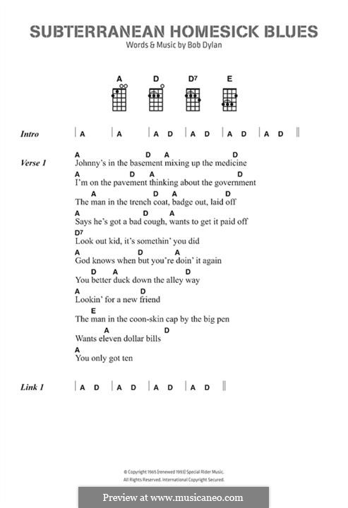 Subterranean Homesick Blues: Text und Akkorde by Bob Dylan