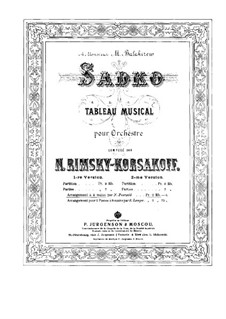 Sadko. Musikalische Gemälde, Op.5: Für Klavier, vierhändig by Nikolai Rimsky-Korsakov
