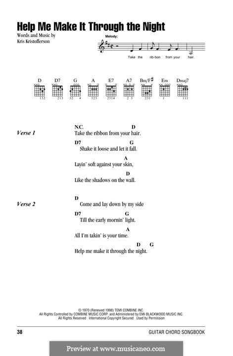 Help Me Make It Through the Night: Text und Akkorde by Kris Kristofferson