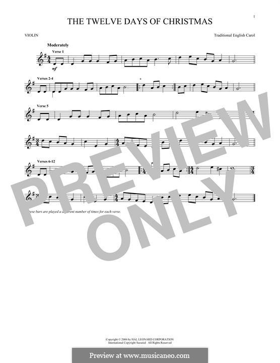 The Twelve Days of Christmas: Für Violine by folklore