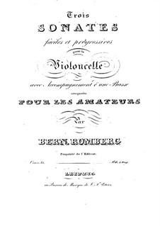 Drei Sonaten für Cello und Basso Continuo, Op.43: Vollpartitur by Bernhard Romberg
