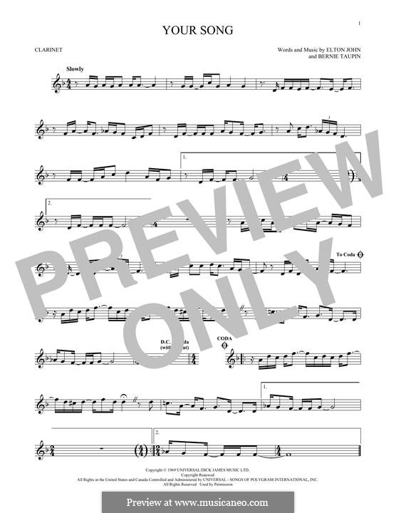 Your Song: Für Klarinette by Elton John