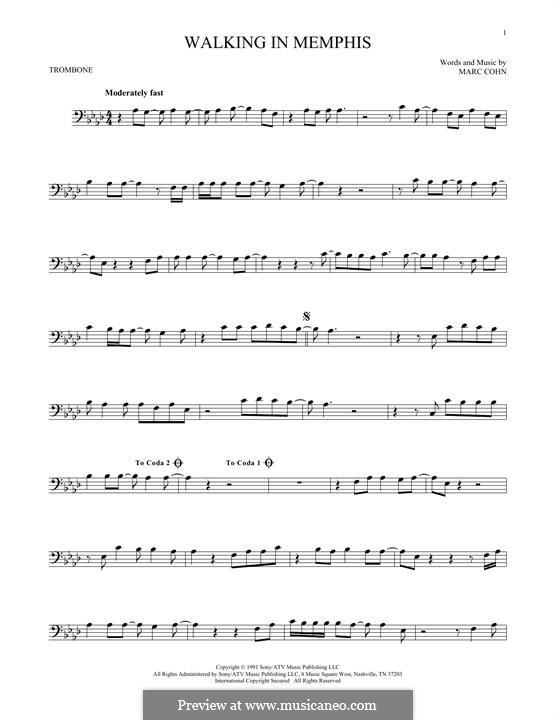 Walking in Memphis: For trombone by Marc Cohn
