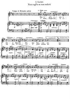 Non vogl'io se non vederti: Klavierauszug mit Singstimmen by Alessandro Scarlatti