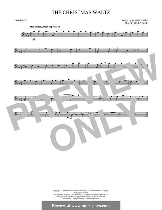 The Christmas Waltz: For trombone by Jule Styne