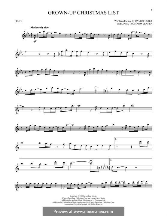 Grown-Up Christmas List: Für Flöte by David Foster, Linda Thompson-Jenner